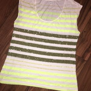 Sequin striped tank top